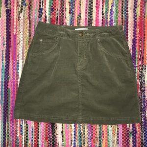 Army Green Corduroy Skirt w/ Pockets!